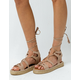 QUPID Lace Up Gladiator Taupe Womens Espadrilles Flatform Sandals
