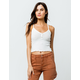 IVY & MAIN Ribbed Henley White Womens Crop Cami
