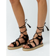 QUPID Lace Up Gladiator Black Womens Espadrilles Flatform Sandals
