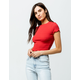 IVY & MAIN Textured Lettuce Edge Womens Crop Tee