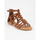 SODA Braid Back Zip Tan Womens Gladiator Sandals