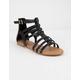 SODA Braid Back Zip Black Womens Gladiator Sandals