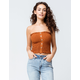 SKY AND SPARROW Smocked Button Front Camel Womens Tube Top