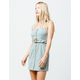 SKY AND SPARROW Button Front Belted Sage Dress