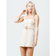 SKY AND SPARROW Button Front Belted Cream Dress