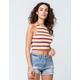 SKY AND SPARROW Stripe Rib High Neck Tan Womens Crop Tank Top