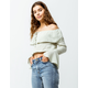 AMUSE SOCIETY Cafecito Womens Off The Shoulder Crop Top