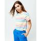 DICKIES Rainbow Stripe White Crop Tee