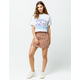 SKY AND SPARROW Floral Button Front Mini Skirt