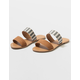 QUPID Double Strap Stripe Womens Sandals