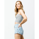 SKY AND SPARROW Stripe Ribbed Light Blue Womens Tube Top