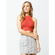 SKY AND SPARROW Crochet Crop Rust Womens Halter Top