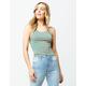 GOOD LUCK GEM Stripe Crop Turquoise Womens Tank Top