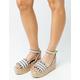 QUPID Stripe Ankle Strap Gray & Beige Womens Espadrille Wedges