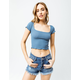 FULL TILT Essentials Ribbed Square Neck Blue Womens Crop Tee