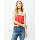 H.I.P. Button Front Red Womens Tube Top