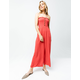 SKY AND SPARROW Smocked Button Front Red Womens Tube Jumpsuit