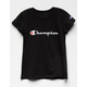CHAMPION Screen Logo Black Girls Tee