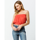 SKY AND SPARROW French Terry Smocked Rust Womens Crop Tube Top