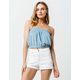 SKY AND SPARROW French Terry Smocked Light Blue Womens Crop Tube Top