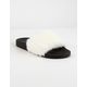 QUPID Faux Fur White Womens Sandals