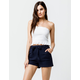 SKY AND SPARROW Tie Front High Waisted Womens Shorts