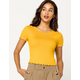 BOZZOLO Ribbed Lettuce Edge Butter Womens Crop Tee