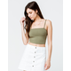 BOZZOLO Ribbed Square Neck Olive Womens Crop Tank Top