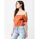 SKY AND SPARROW Crop Peasant Rust Womens Off The Shoulder Top