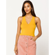 DESTINED Ribbed V-Neck Mustard Womens Crop Tank Top