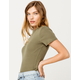 DESTINED Mock Neck Olive Womens Tee