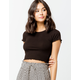 BOZZOLO Ribbed Lettuce Edge Black Womens Crop Tee