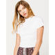 DESTINED Mock Neck White Womens Tee