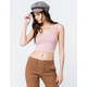 BOZZOLO Ribbed Square Neck Pink Womens Crop Tank Top