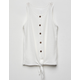 WHITE FAWN Thermal Tie Front Cream Girls Tank Top