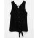 WHITE FAWN Thermal Tie Front Black Girls Tank Top