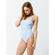 SKY AND SPARROW Ribbed Square Neck Light Blue Bodysuit