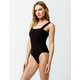 SKY AND SPARROW Ribbed Square Neck Black Bodysuit