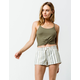 ALMOST FAMOUS Striped Linen Green Womens Shorts