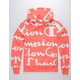 CHAMPION Reverse Weave All-Over Logo Giant Script Groovy Papaya Mens Hoodie
