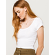 DESTINED Picot Trim Neck White Womens Tee