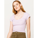 DESTINED Picot Trim Neck Lavender Womens Tee