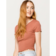 BOZZOLO Ribbed Lettuce Edge Rust Womens Crop Tee