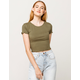 BOZZOLO Ribbed Lettuce Edge Army Womens Crop Tee