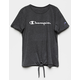 CHAMPION Tie Front Charcoal Girls Tee