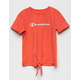 CHAMPION Tie Front Coral Girls Tee