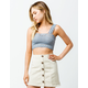 SKY AND SPARROW Crochet Square Neck Light Blue Womens Crop Tank Top