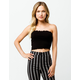 SKY AND SPARROW Ribbed Lettuce Edge Black Womens Tube Top
