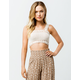 SKY AND SPARROW Crochet Square Neck Cream Womens Crop Tank Top