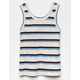 WHITE FAWN Stripe Sweater Blue Girls Tank Top